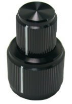 Concentric Aluminum Knob, lined, black anodized
