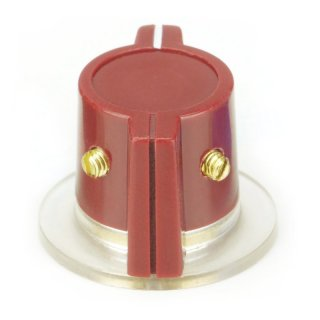 Red Marconi style knob, skirted 2 x Set screw, 1/4 Shaft hole
